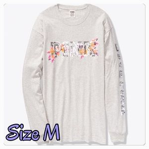 VICTORIA'SSECRET PINK BLING LONG SLEEVE CAMPUS TEE